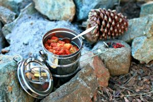 Small pot cooking backpack food