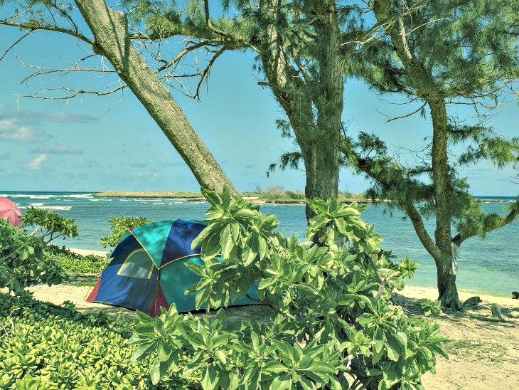 A tent camping on the beach