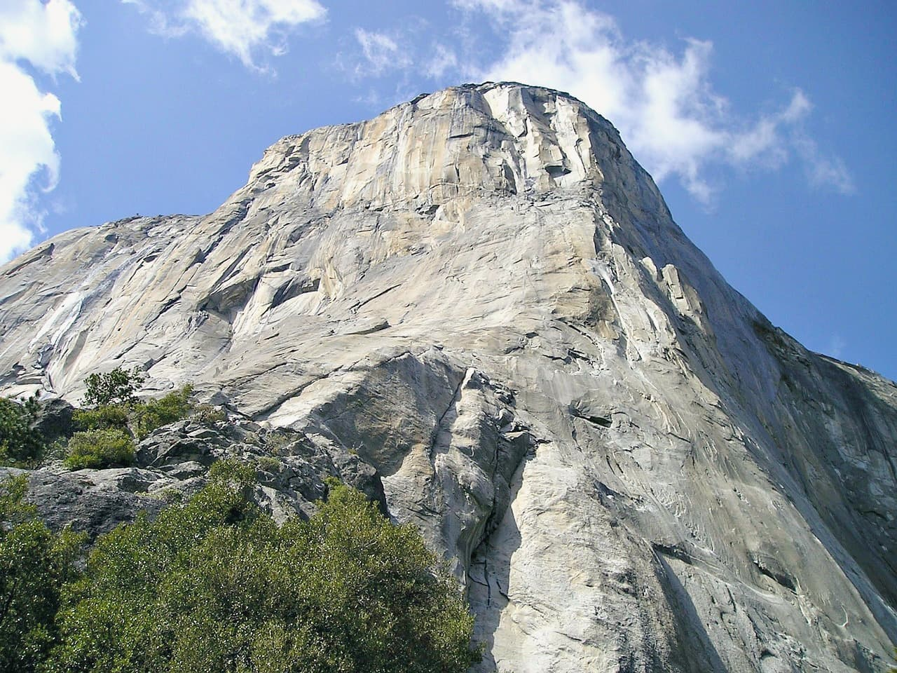 Looking up at a 3000 foot granite rock face