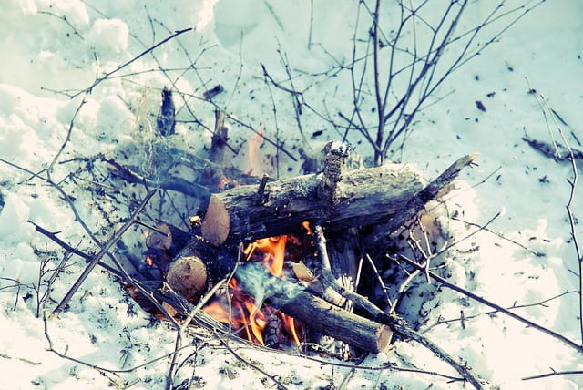 A campfire in the snow