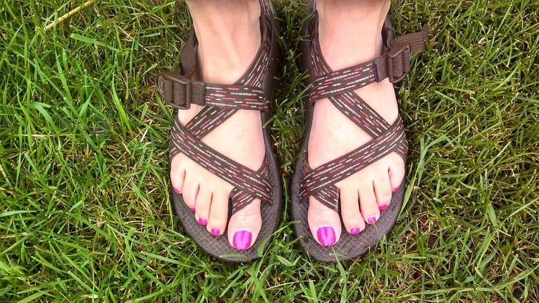 Chaco sandals in the grass