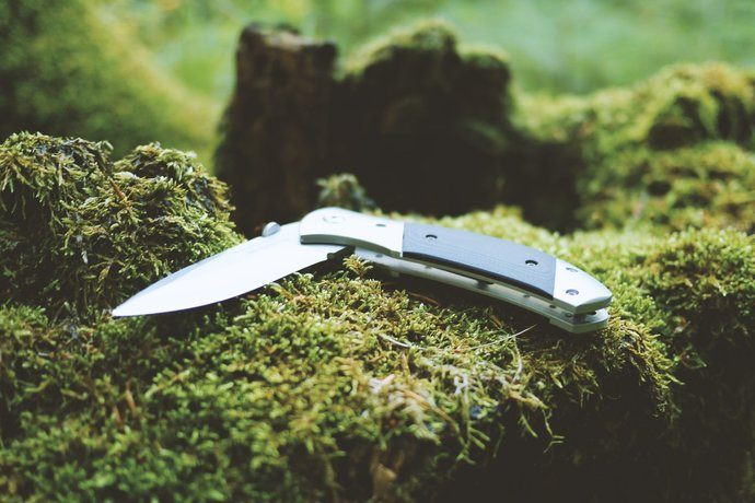 A folding knife on a mossy log