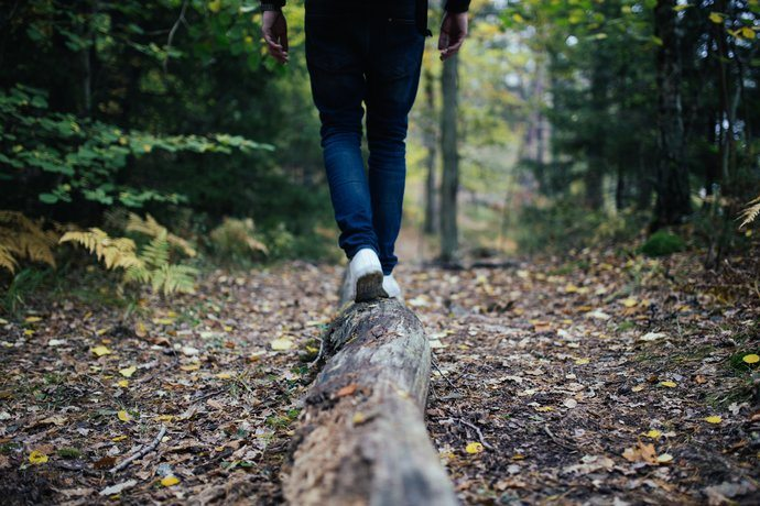 A person walking on a log in the woods