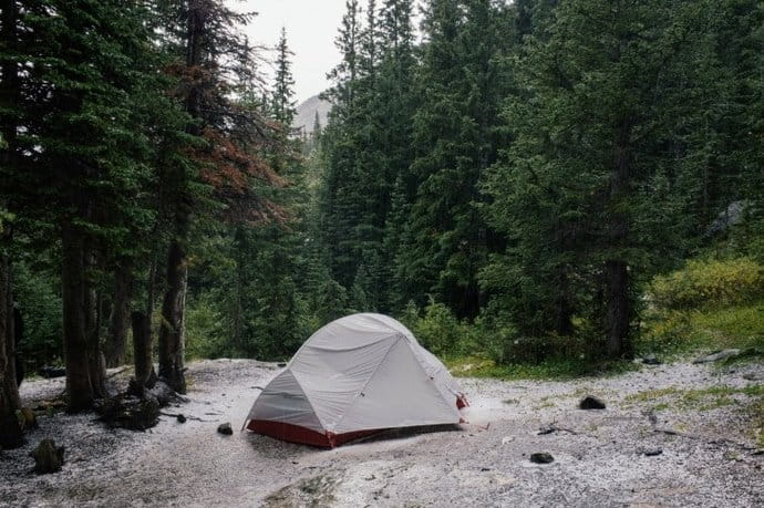 a tent outdoors in the rain