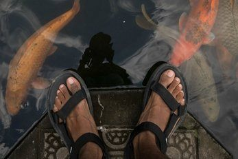 person in sandals standing over a goldfish pond