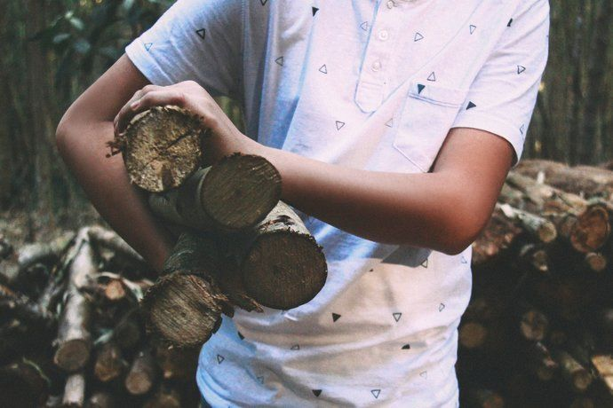 A person carrying a handful of firewood