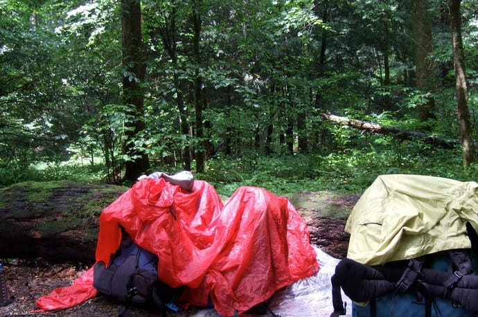 Camping gear in the rain