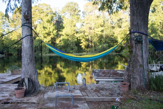 hammock hanging between teo trees next to a lake