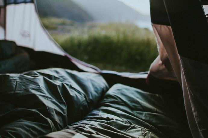 View of the mountains from inside a tent