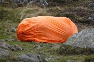 A large bothy bag in the grass